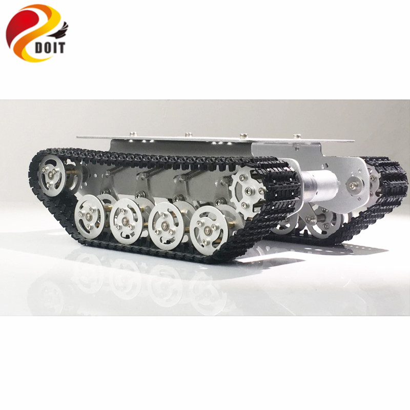 DOIT TS100 Metal Rc Robot Tank Car Chassis Shock Absorption Car With Suspension System Crawler Caterpillar for Arduino DIY Toy
