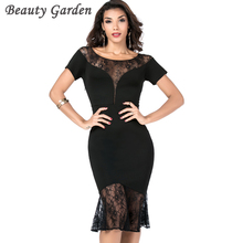 Beauty Garden Women Sexy Evening Party Club Dress 2017 Female Bodycon Short Sleeve O-neck Fashion Lace Black Dress