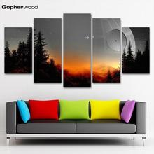 Modular Canvas Pictures Wall Art Framed 5 Pieces Star Wars Tree Death Painting Living Room Prints Movie Poster Home Decor