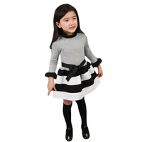 Casual Dress Girls Dress Baby Girl Clothes Fashion Long Sleeve Ruffles Turtle Neck Striped Spliced