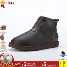 INOE new genuine sheepskin leather men winter shoes warm natural wool fur lined short ankle winter snow boots for men waterproof