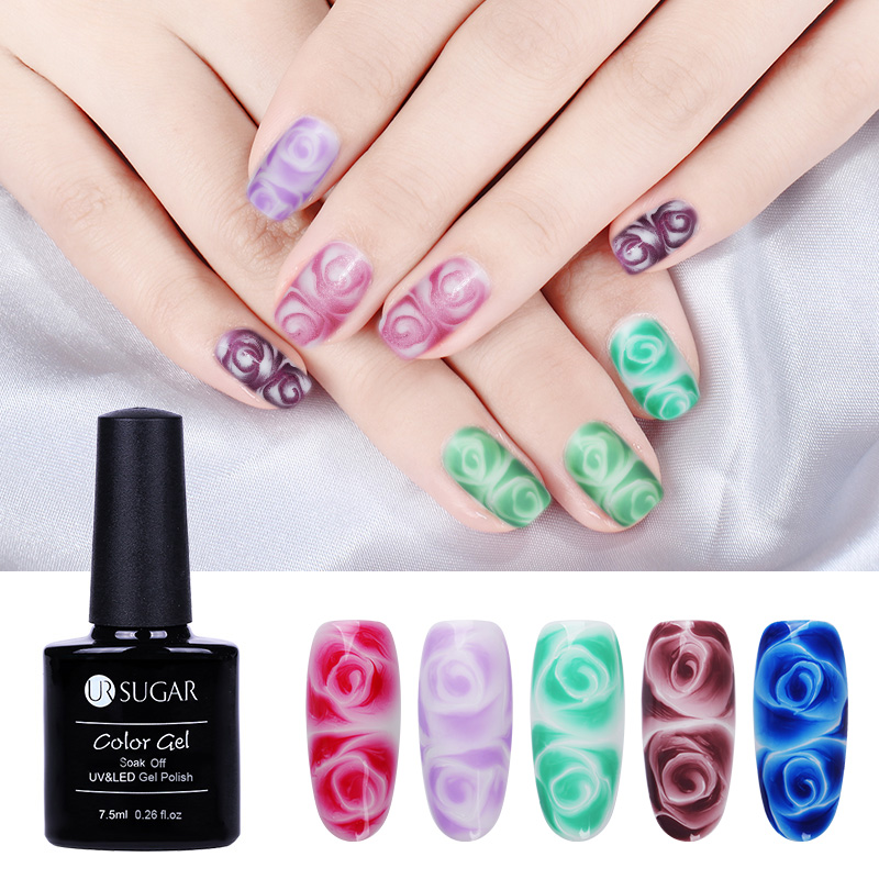 UR SUGAR 2Pcs Clear White Blossom Gel Flower Blooming with Nail ...