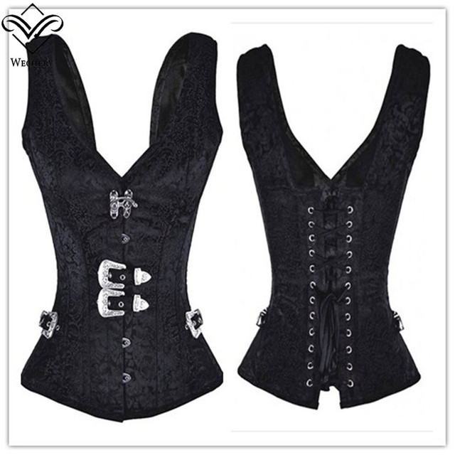 Wechery Corset Steampunk Gothic Corsets And Bustiers Modeladora Black Vest 12 Steel Boned Bustier Corselet  Modeling Strap