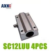 AXK 4pcs Lot Linear Ball Slide Bearing Block CNC 12mm SC12LUU SCS12LUU