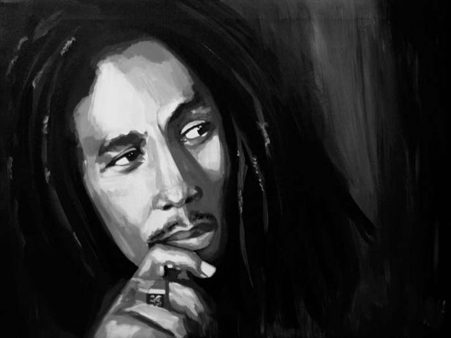 Bob Marley Reggae ROCK Music ART -100% hand painted PAINTING 24×36 inch-free shipping