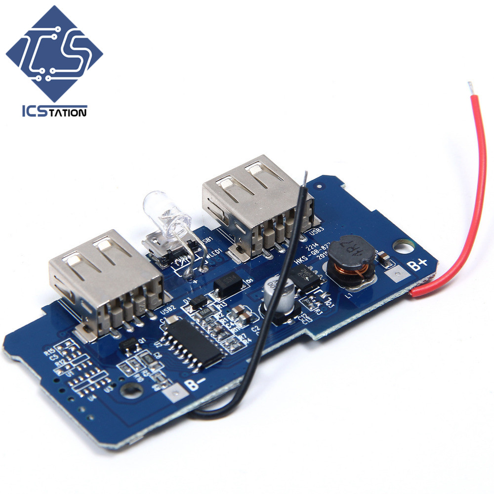 3pcs/lot 5V 2A Power Bank Charger Circuit Board Portable Power Supply Module Step Up Board Double USB Output For DIY материнская плата asrock a320m dgs socketam4 matx ret