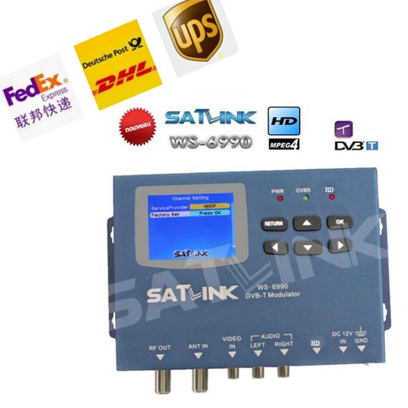 by DHL UPS FEDEX Satlink WS-6990 HD AV input single-channel DVB-T Modulator Compact and wall mountable WS6990 WS 6990 original satlink dvb t ws 6990 terrestrial finder 1 route dvb t modulator av hd meter ws6990 satlink 6990