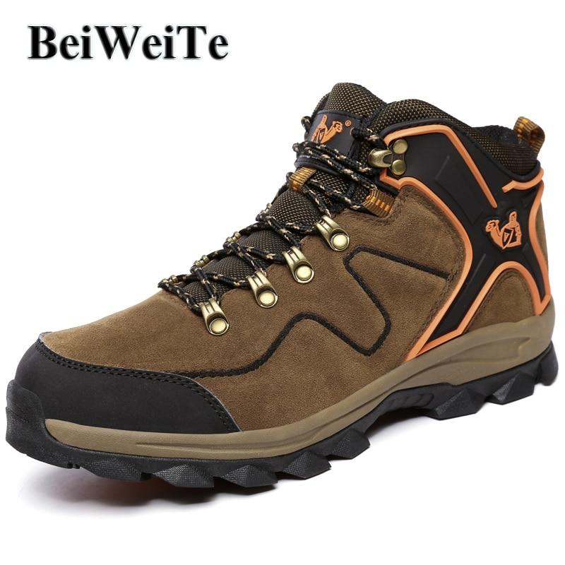 Botas de senderismo de gran tamaño para hombre Zapatillas de deporte de cuero genuino para hombres Senderismo al aire libre Caza Escalada Zapatos de montaña Nuevo