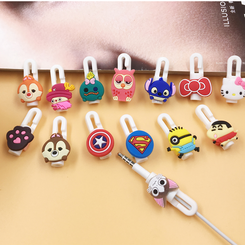 купить Cartoon Cable Protector Organizer Bobbin Winder Cute Wire Cord Management Marker Holder Cover For iPhone Earphone MP3 Cable по цене 19.72 рублей