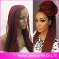 Hot 99J African American Woman Hand Knoted-Braided Lace Hair Wigs Heat Resistant Synthetic Hair Box Braid Lace Front Wigs