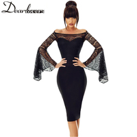 Dear Lover Lace Sexy Dress Black Long Sleeve Off Shoulder Bodycon Party Dress Hollow Out Elegant