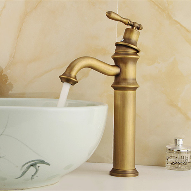 Free Shipping Long body antique basin faucet by solid brass antique ...