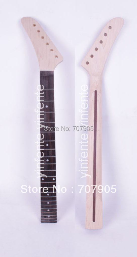 New Unfinished electric guitar neck Maple Wood Rosewood Truss Rod 22 fret 25.5 Free shipping 2 holes aluminum alloy guitar truss rod cover bell shape fits for epiphone les paul lp for electric guitar replacement part new