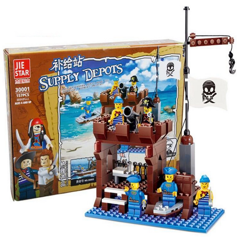 JIE Star 30001 PIRATES Pirate Ship Supply Depots Building Blocks Classic Enlighten DIY Figure Toys For Children Compatible Legoe 1402 enlighten star wars 8 in 1 aircraft carrier ship tank model building blocks diy figure toys for children compatible legoe