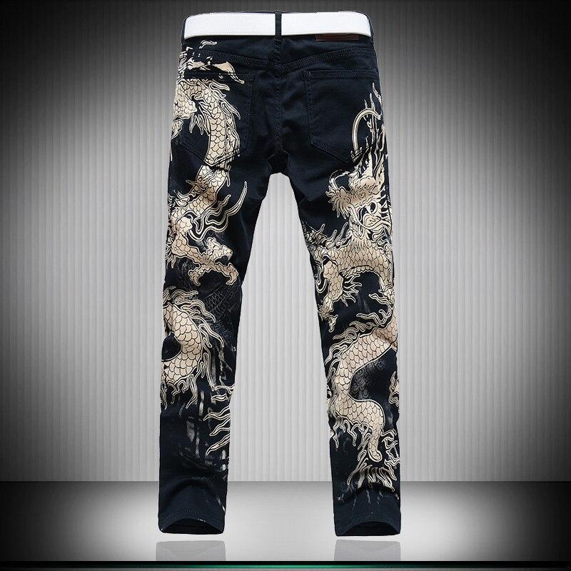 Sokotoo Men/'s fashion leopard print jeans Male slim fit straight black denim