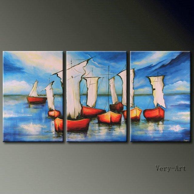 Pintado a mano 3 unidades azul paisaje marino pintura al óleo sobre ...