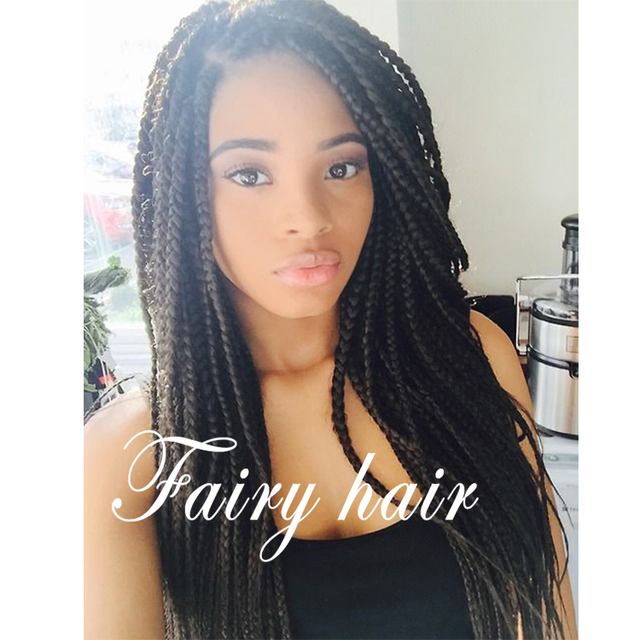 Synthetic Fully Handed Black Braided Wig Synthetic Lace