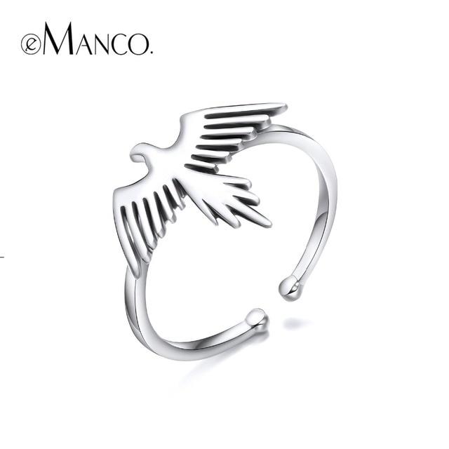 E-Manco de la plata esterlina 925 águila volando anillos anillo de boda y compromiso de evitar alergia al por mayor
