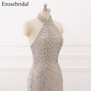 Image 5 - 2019 Mermaid suknie wieczorowe długie Erosebridal Sliver frezowanie Off The Shoulder Prom sukienki na przyjęcie bez pleców Robe De Soire ZCC03