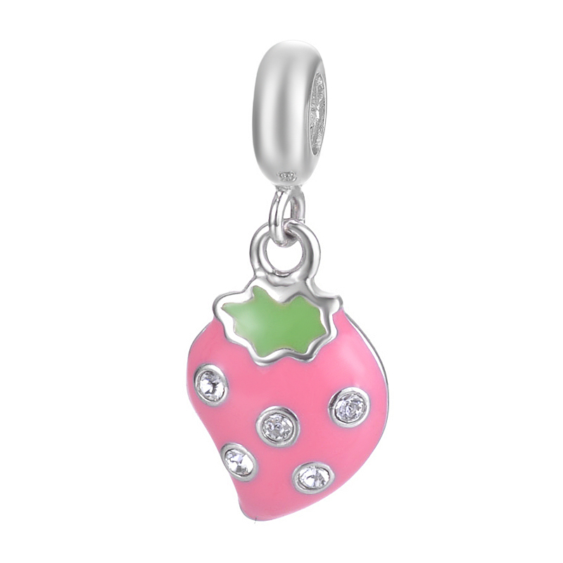European Style Beautiful Tasted Fruit Kiwifruit Design Pendant Jewelry For Bracelet Or Necklace S925 Sterling Silver Charm