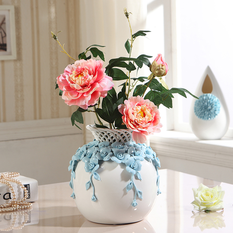 modern hollow out ceramic flower vase decoration carved Tabletop handmade  vase wedding gift-in Vases from Home & Garden on Aliexpress.com | Alibaba  Group