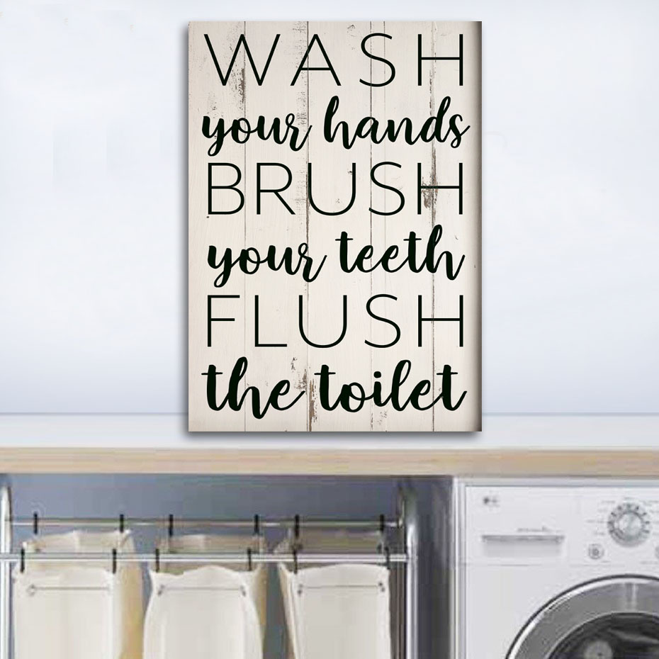 Wash Your Hands Bathroom Canvas Paintings  Laundry Room DIY Photo Framed Wall Art Prints Posters Pictures Frame Home Decoration (2)