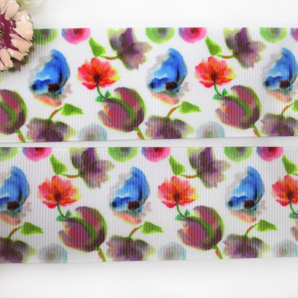 1.5 «(38 мм) цветы серии высокого качества Печатных Полиэфирная лента 50 ярдов, DIY материалы ручной работы, свадебная подарочная упаковка, 50yc1274