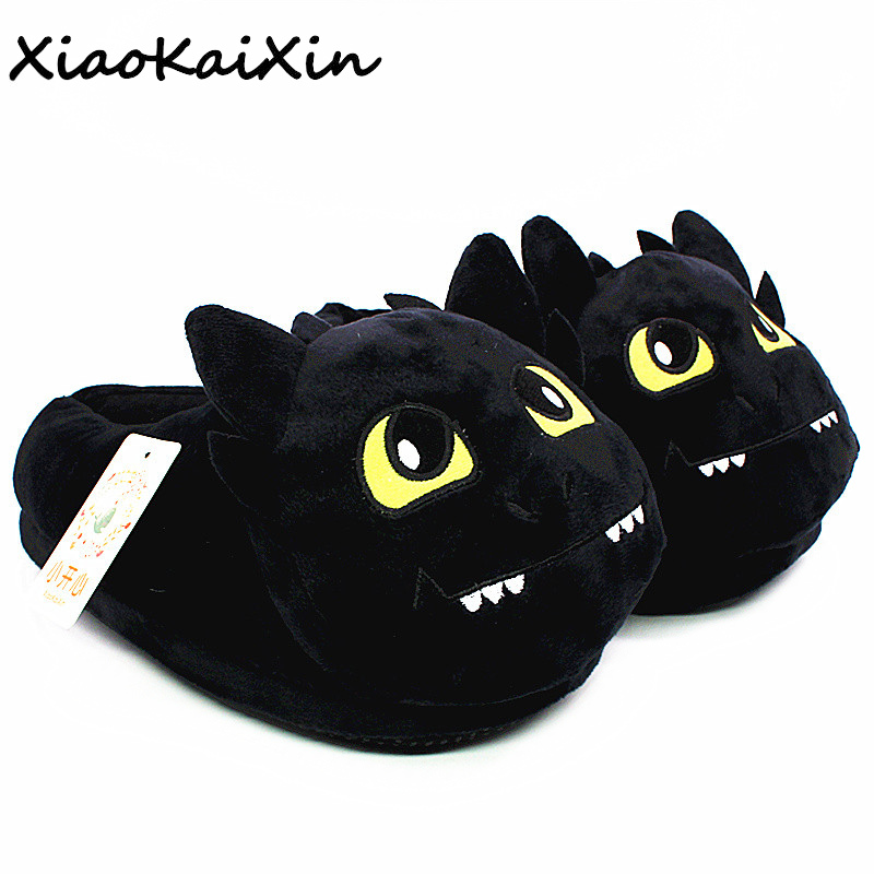 Unisex Anime Cartoon Plush Slippers How to Train Your Dragon Style Winter Warm Soft PP Cotton Black Home Fluffy Slippers Shoes(China)