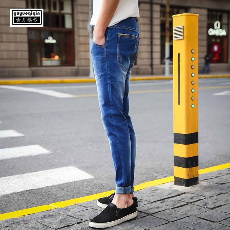 Skinny Jeans Men 2018 Summer Denim Trousers Korean Youth Stretch Cowboy Pencil Pants Slim Blue Jeans Plus Size Middle Waist Jean