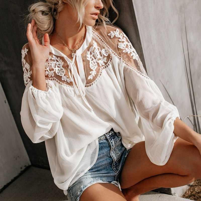 Beyaz şifon örgü dantel kadın bluz siyah fener kollu şeffaf Boho kadınlar gömlek yaz bahar gömlek