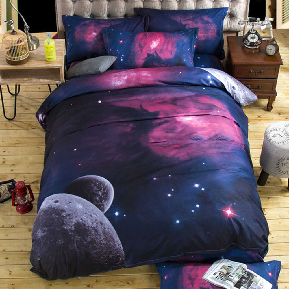 Galaxy bedding sets Universe  Space Quilt duvet cover set pillow Cover bed linens Single/Double/Queen Size cotton satin Quilted