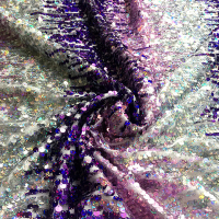 1 Yard Symphony Purple Gradient Sequin Fabric Knit Bottom Dress Clothing Bag Sequin Fabrics Designer Material Telas Stoffen