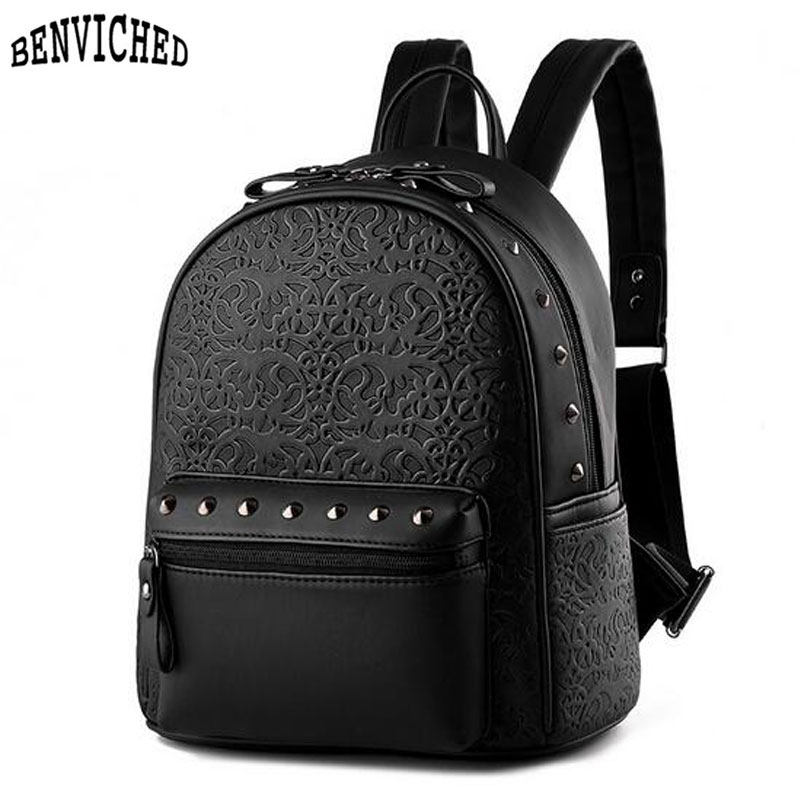 Women School Bags Backpack 2018 Vintage PU Leather Embossing Black Travel Backpacks For Teenagers Rucksack Leisure Knapsack Z512 14 15 15 6 inch flax linen laptop notebook backpack bags case school backpack for travel shopping climbing men women