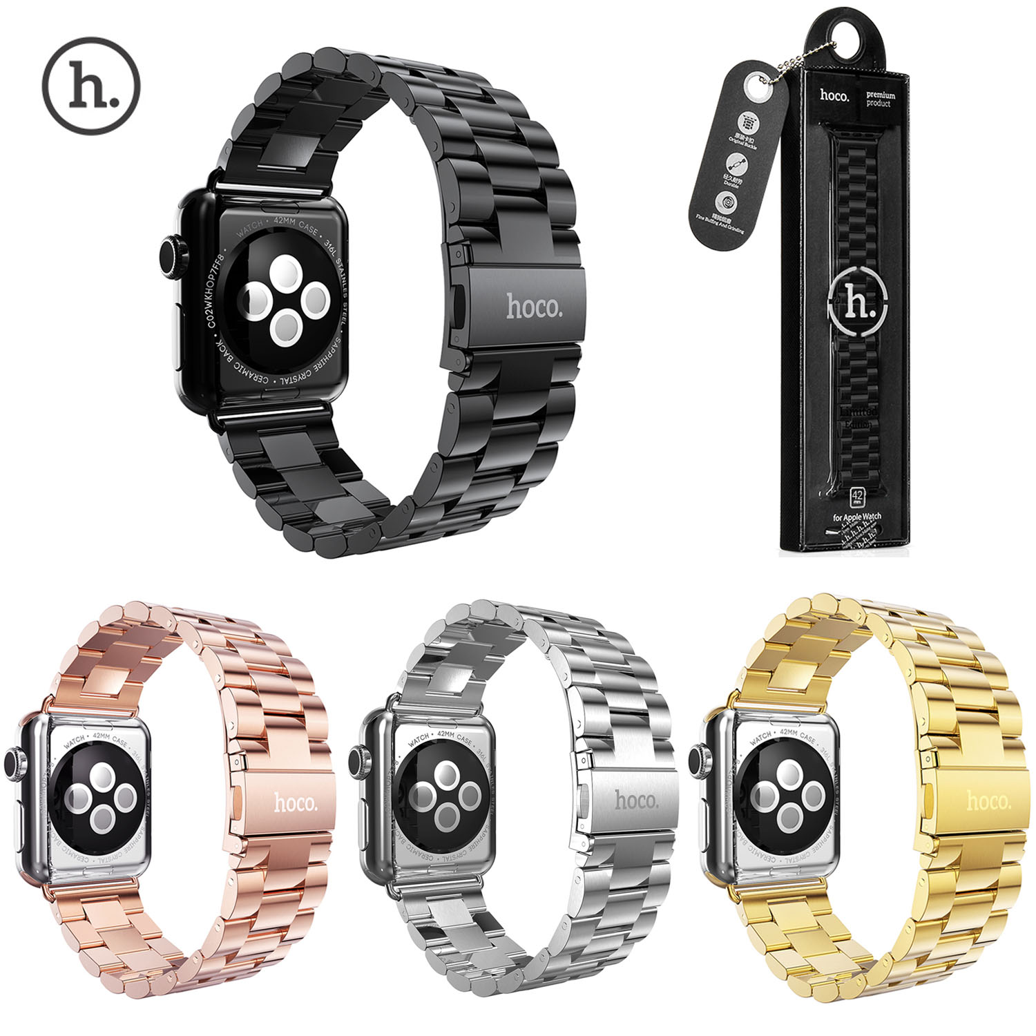 HOCO Classic 316L Stainless Steel Strap for Apple Watch Series 3 Band Bracelet for iWatch Series 3/2/1 42mm 38mm Wristband кольцо opk 316l aaa 3 gj447