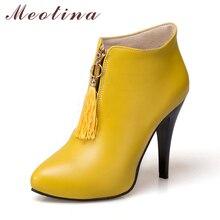 Meotina Winter Frauen Stiefeletten Plattform High Heels Fringe Boots Spitz Sexy Schuhe Herbst Weibliche Boot Plus Größe 46 gelb