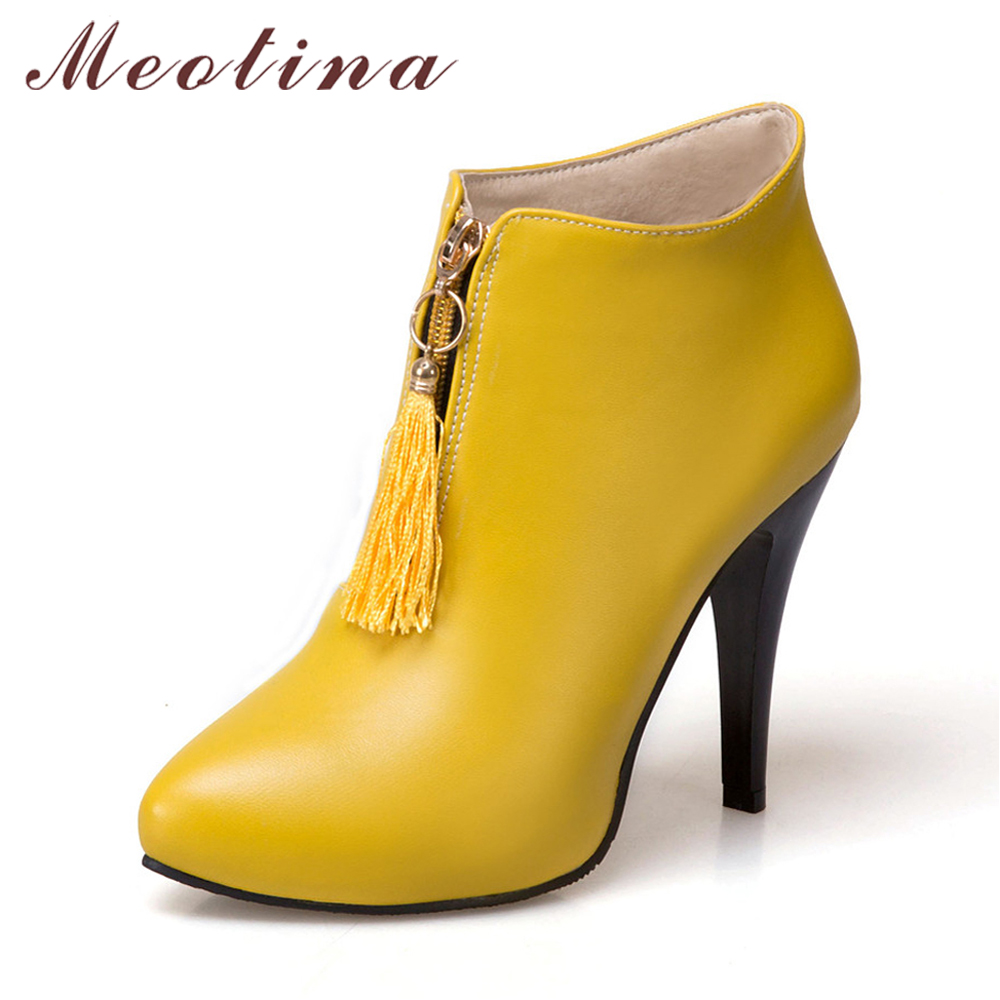 Meotina Women Ankle Boots Platform High Heels Fringe Boots Winter Pointed Toe Sexy Shoes 2017 Female Boot Big Size 46 Yellow купить