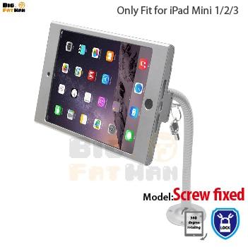 Tablet pc de pantalla flexible de cuello de cisne de pared soporte ajustable de soporte para ipad mini1 2 3 caja fuerte con llave de seguridad ayuda de la caja de metal brazo