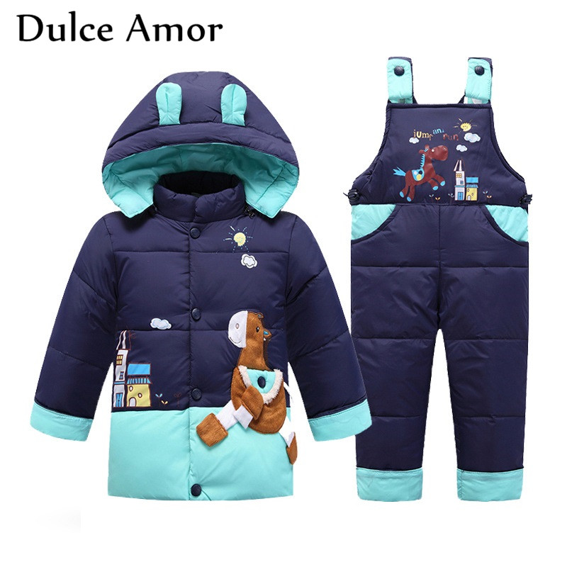 Dulce Amor Winter Kids Warm Duck Down Jacket Set Trojan Pattern Snowsuit + Romper For Baby Boy Girl -30 Degree Jacket Set cacharel туалетная вода женская amor amor l eau 50 мл os