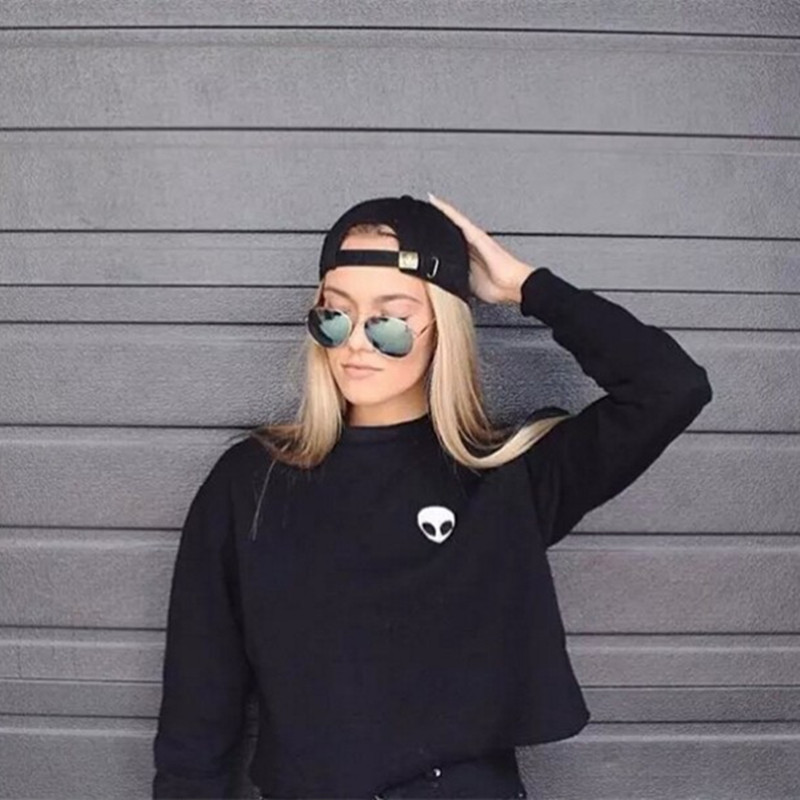 Alien Printed Long-sleeved Women Sweatshirt 2018 New Autumn Plus Velvet Hoodie Plus Size Loose Casual Short Sweatshirts Crop Top