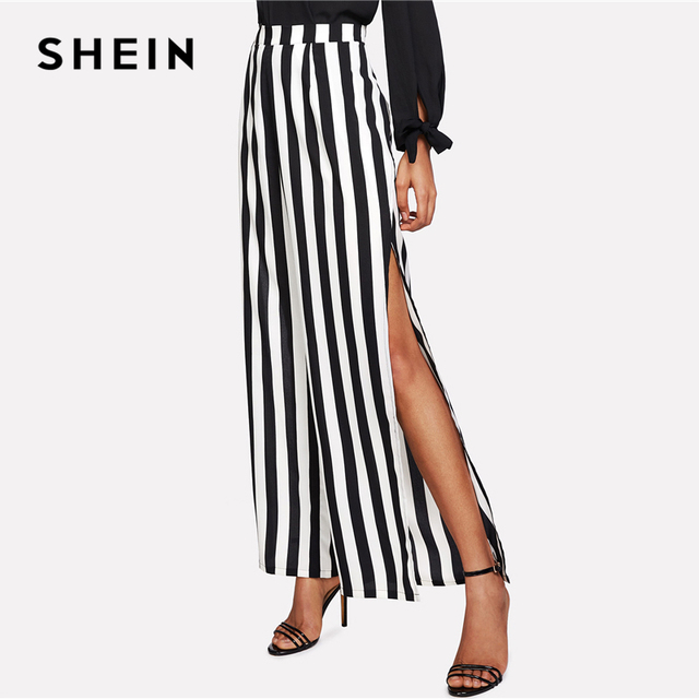 a236bc5aad77 SHEIN High Slit Striped Palazzo Pants 2018 Summer Black and White Striped  Cool Trousers Women Mid Waist Vacation Loose Pants