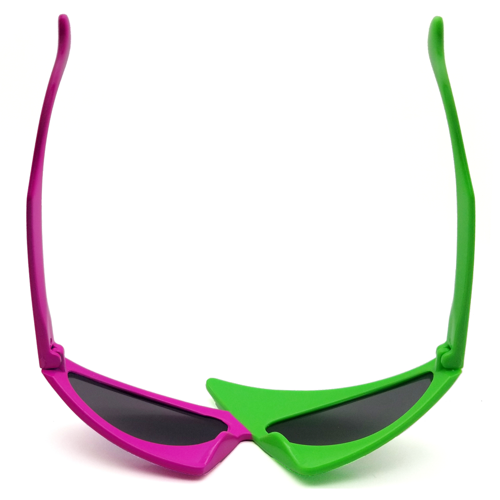 VIVIBEE Green Red Glasses Fancy Party Festival Sunglasses Hip Hop Unique Punk Roy Purdy Funny Shades