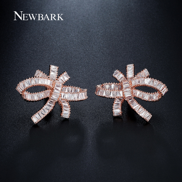 NEWBARK Luxury Bowknot Earrings AAA Cubic Zirconia Brincos Bar Setting  Earrings For Women Fashion Jewelry Cocktail 456b6e9b9fcd