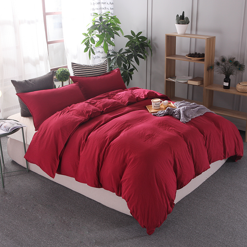 Mecerock Brief Bedding Set Washable Wrinkle Wine Red Black Solid Color 3pcs RU Double Europe Family Sizes Duvet Cover Set for Us ...