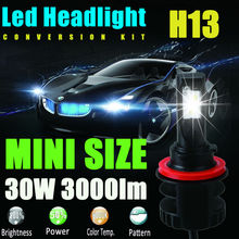 New H13 9008 12V 24V 30W 3000Lm Led Headlight Bulb Headlamp Kit 6000K White High Power Light Lamp Replace Xenon Hid Halogen Fog