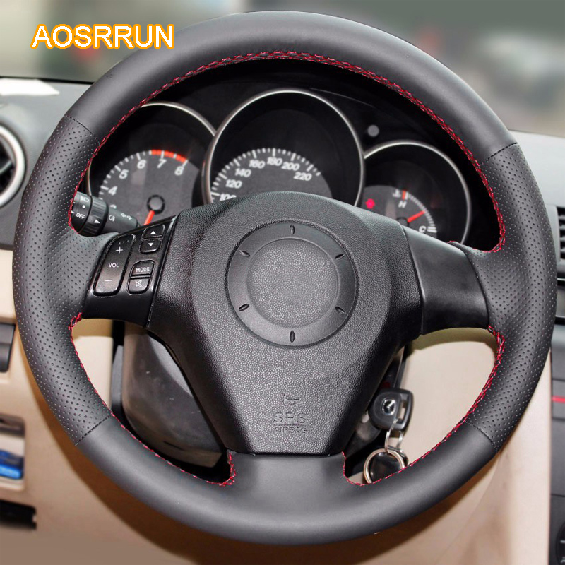 AOSRRUN genuine leather car steering wheel cover Car <font><b>accessories</b></font> For Old Mazda 3 Mazda 5 Mazda 6