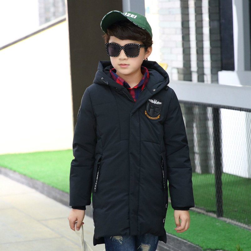 boy Winter hooded casual Parker Stylish letter printing coat new autumn and winter children warm down jacke thick long paragraph casual 2016 winter jacket for boys warm jackets coats outerwears thick hooded down cotton jackets for children boy winter parkas