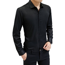 Mens Shirt 2019 Spring Business Casual Slim Long Sleeve Professional Dress High Quality Brand