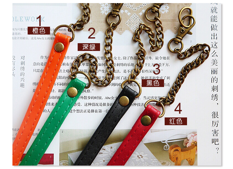 50cm colorful metal with PU leather bag shoulder chain strap hardware accessories 2pcs/lot