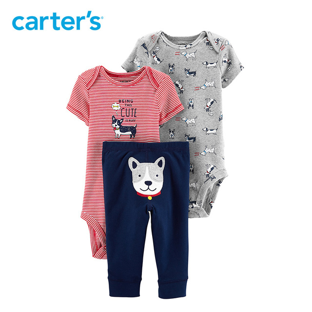 b0a8f0e64 Carters 3-Piece Dog Little Character Set 2019 Spring summer fashion baby  boy clothes Bodysuits pant cotton baby clothing 1662811