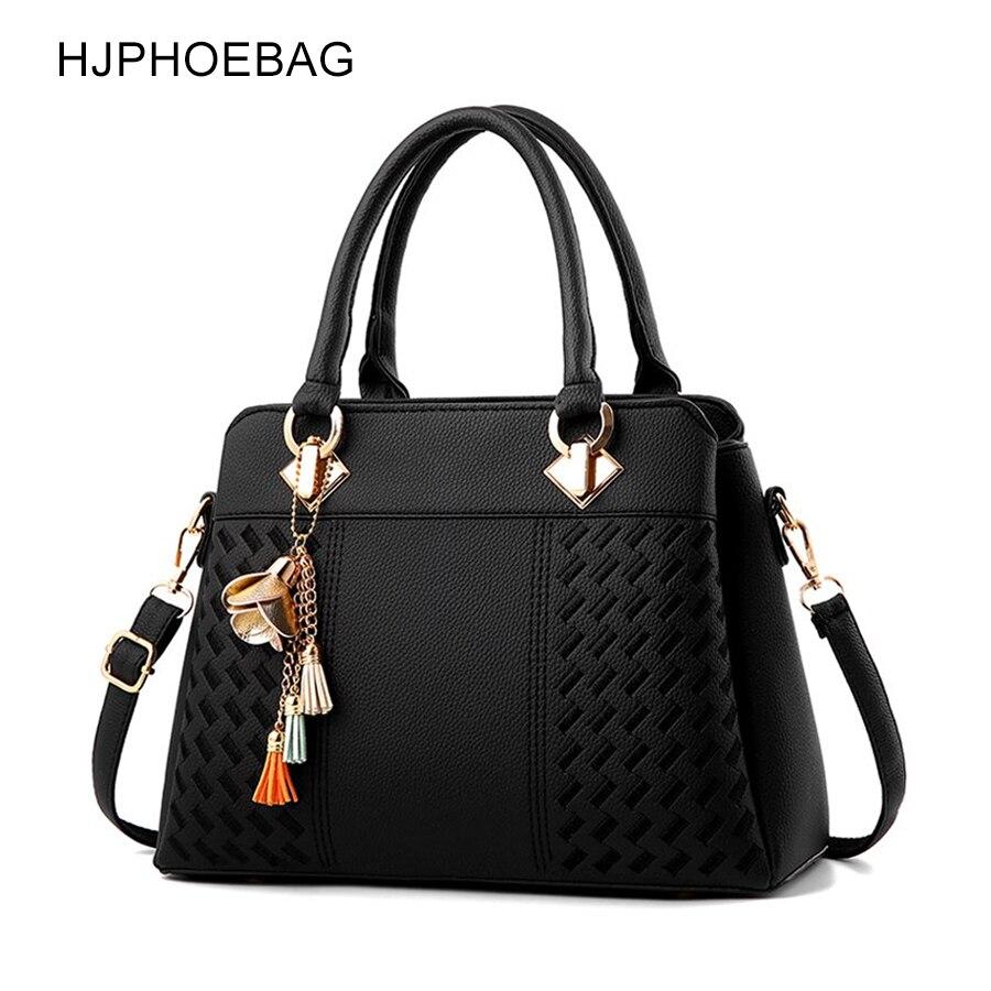 HJPHOEBAG Fashion Women Bag Tassel PU Leather Totes Bag Embroidery Crossbody Bags Shoulder Bag Lady Simple Style Bolsa YC206